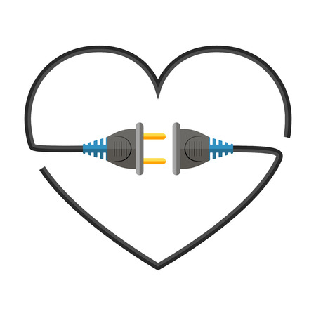Heart made of electric cable, sockets and plugs. Vector illustration. Love concept