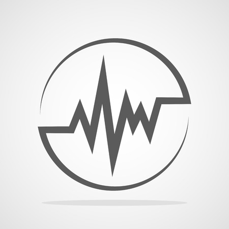 Gray Heartbeat icon in the circle. Vector illustration. Medical concept in flat design. Heart Rate Illustration