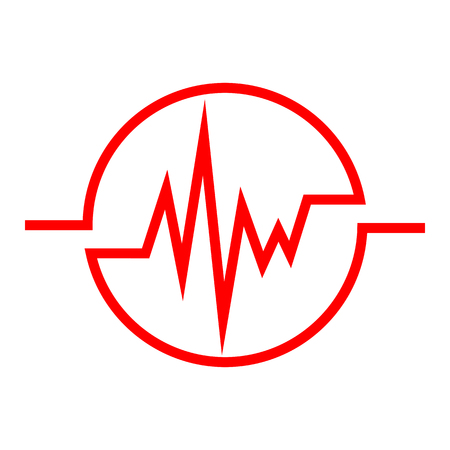 Red Heartbeat icon in the circle. Vector illustration. Medical concept in flat design. Heart Rate Illustration