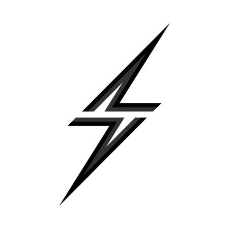 Lightning icon in flat design. Vector illustration. Black lightning icon isolated on white background.