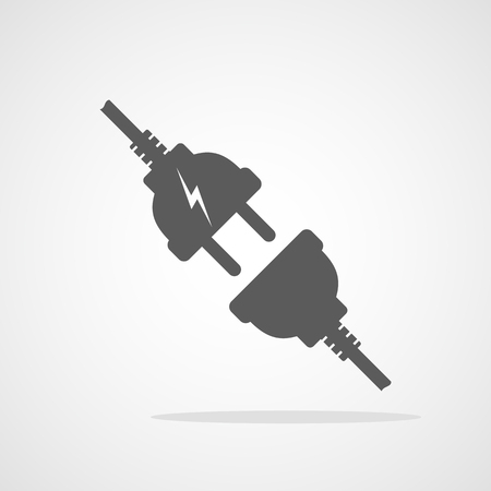 Wire plug and socket, isolated on light background. Vector illustration. Wire plug and socket in flat design