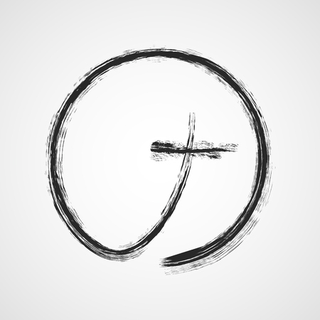 Christian cross in the circle. Vector illustration. Gray hand drawn christian cross, isolated on light background.