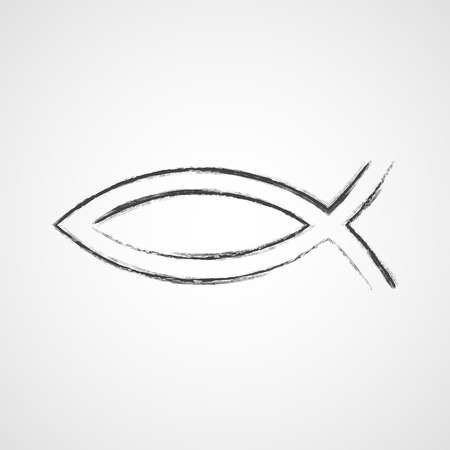 Hand drawn Christian fish symbol. Vector illustration. Gray fish as a symbol of Christianity, on light background.