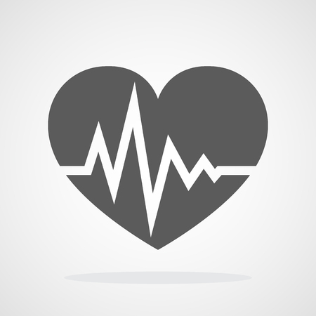 Gray heart icon with sign heartbeat in flat design. Vector illustration. Medical symbol