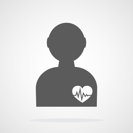 Gray silhouette of human with heart and sign heartbeat. Vector illustration. Medical symbol in flat design