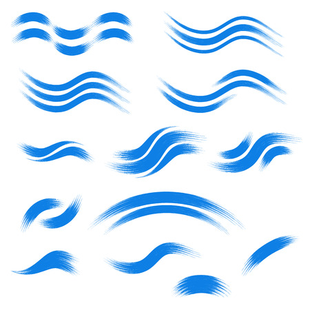 Set of hand drawn wave icons. Vector illustration. Blue wave icons drawn by hand