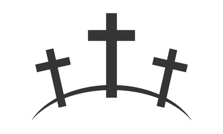 Calvary icon with three crosses on white background. Vector illustration. Black Calvary sign in flat design. Standard-Bild - 101765958