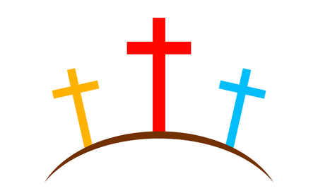 Colored Calvary icon with three crosses, on white background. Vector illustration. Calvary sign in flat design.