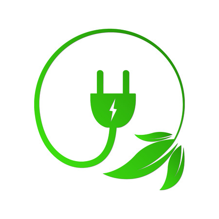Leaves with electric cable and a plug. Vector illustration. Concept of green energy. Green power concept Illustration
