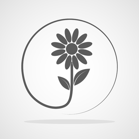Gray flower icon in flat design. Vector illustration. Sign of flower in a circle. Illustration