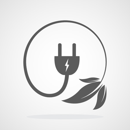 Plug with electric cable and leaves. Vector illustration. Concept of green energy. Green power concept.