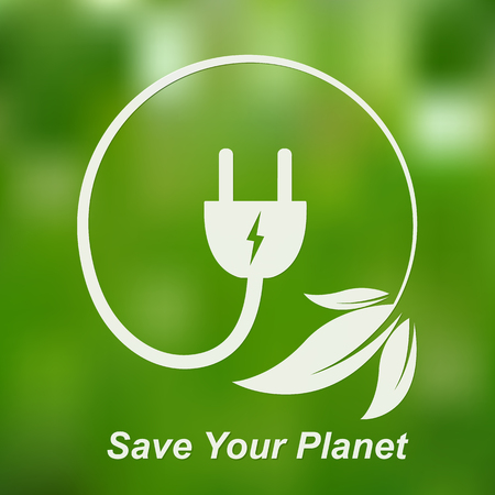 Leaves with electric cable and a plug. Vector illustration. Concept of green energy. Green power concept. Save your planet