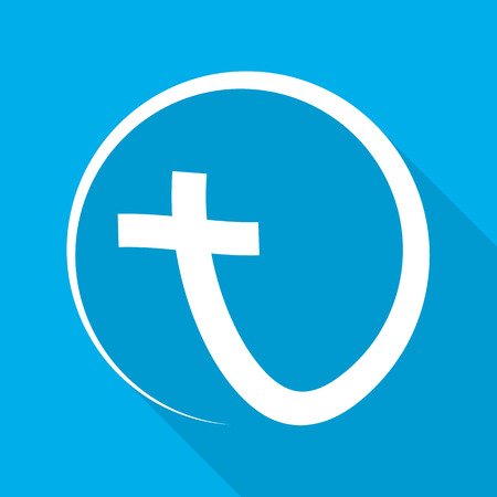 Christian cross icon in the circle with long shadow. White christian cross sign on blue background. Vector illustration.