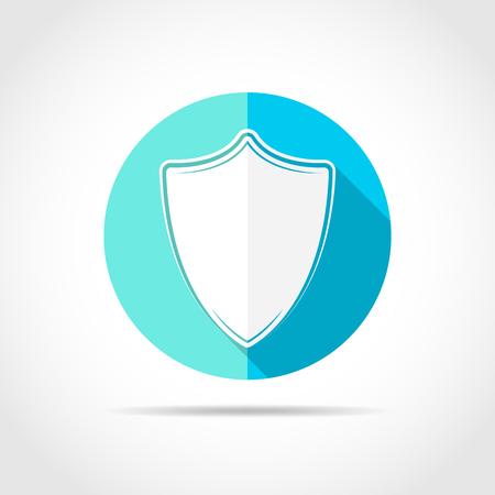 Bouclier blanc au design plat à grandissime. Icône de bouclier simple sur un cercle bleu. Illustration vectorielle.