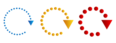 Set of colored dotted circular arrows. Vector illustration. Refresh or reload sign.