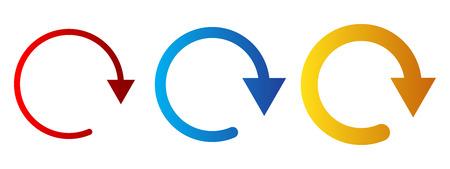 Set of colored circular arrows. Vector illustration. Refresh or reload sign. Illustration