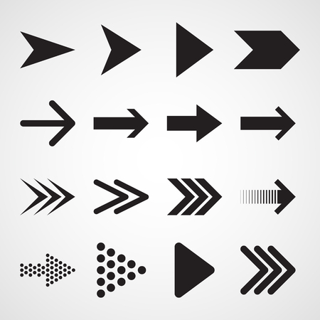Set of black arrows. Vector illustration. Arrows collection isolated on white background.