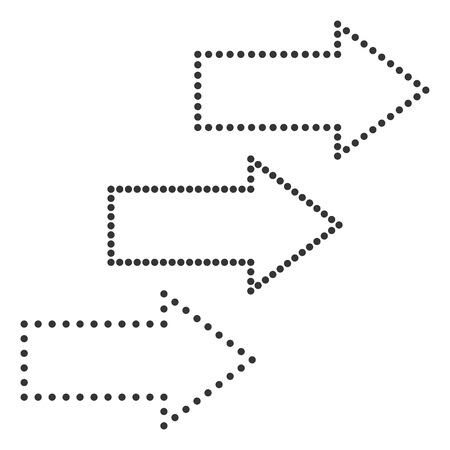 Set of black dotted arrows. Vector illustration. Arrows right and left isolated. Illustration