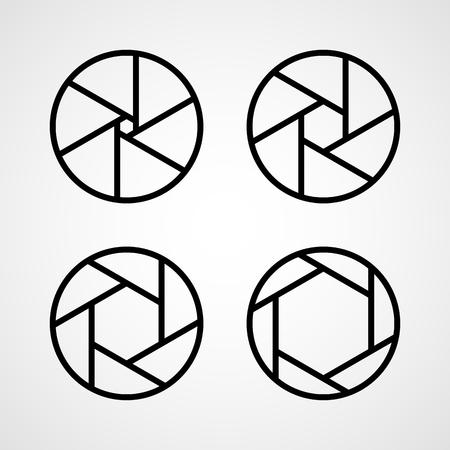 Satz von Blenden-Symbolen. Vektorillustration. Fokus-Symbol. Kamerasymbol isoliert Vektorgrafik
