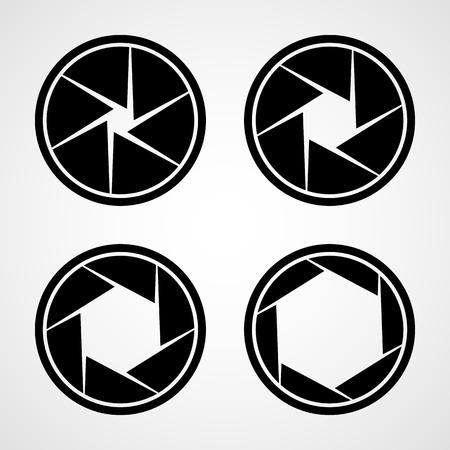 Set di icone di apertura. Illustrazione vettoriale. Icona di messa a fuoco. Icona della fotocamera isolata Vettoriali