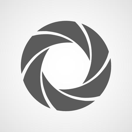 Icono de enfoque. Ilustración vectorial Icono de diafragma de apertura. Icono de cámara aislado