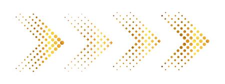 Ensemble de flèches dorées avec effet demi-teinte. Illustration vectorielle. Collection de flèches isolée Vecteurs