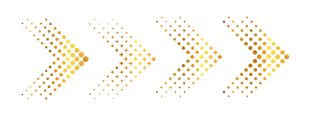 Set of gold arrows with halftone effect. Vector illustration. Arrows collection isolated