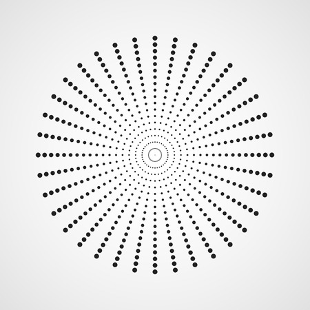 Black abstract circle with halftone dots effect. Vector illustration. Round icon with the use halftone dots texture.