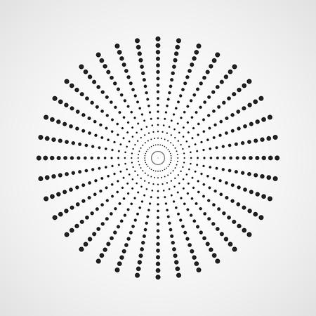 Schwarzer abstrakter Kreis mit Halbtonpunkteffekt. Vektor-Illustration. Rundes Symbol mit der Textur von Halbtonpunkten.