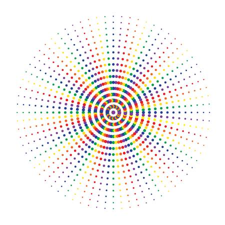 Farbiger abstrakter Kreis mit Halbtonpunkteffekt. Vektor-Illustration. Rundes Symbol mit der Textur von Halbtonpunkten. Vektorgrafik