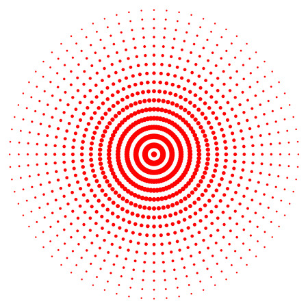 Red abstract circle with halftone dots effect. Vector illustration. Round icon with the use halftone dots texture.