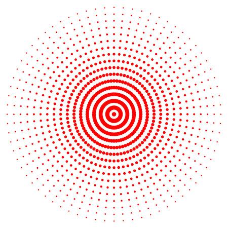 Roter abstrakter Kreis mit Halbtonpunkteffekt. Vektor-Illustration. Rundes Symbol mit der Textur von Halbtonpunkten.
