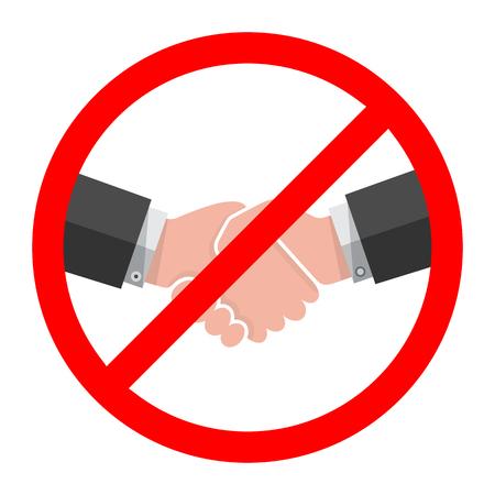 Aucune icône de poignée de main. Illustration vectorielle. Pas de transaction. Aucune collaboration