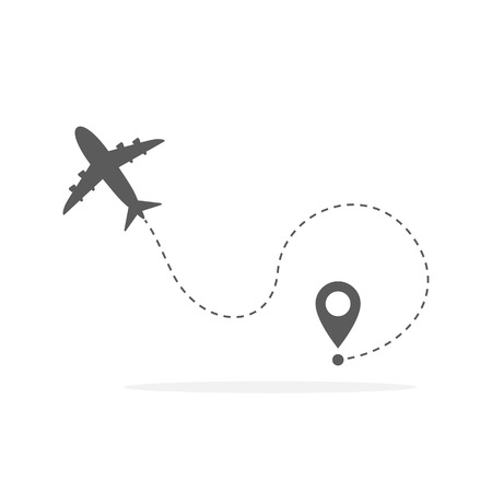 Plane and its track on white background. Vector illustration. Aircraft flight path and its route