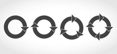 Set of flat circular arrows. Vector illustration. Refresh or reload sign. Illustration