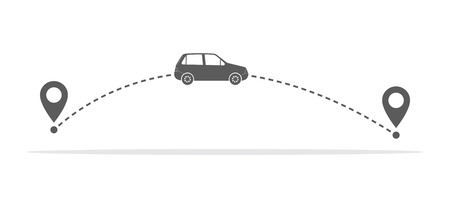 Car and its traveling route or track with location markers. Vector illustration. Travel concept