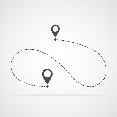 Gray path icon in flat style. Vector illustration. Route, way or track symbol
