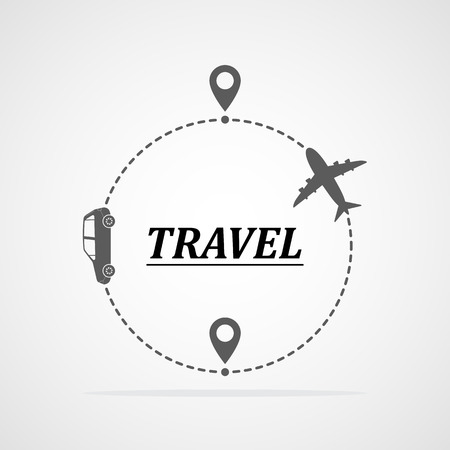 Concept of traveling by car and plane. Vector illustration. Traveling route or track with location markers Ilustração
