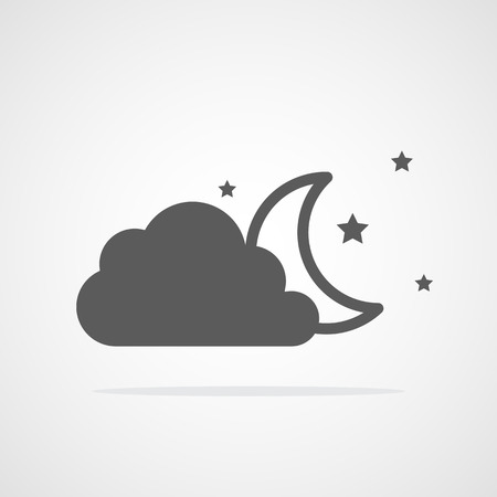 The moon and stars behind a cloud. Vector illustration. Gray weather icon Ilustração