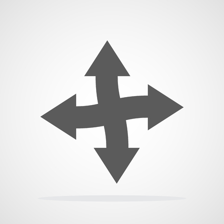 The arrow points in four directions. Vector illustration. Gray arrows isolated
