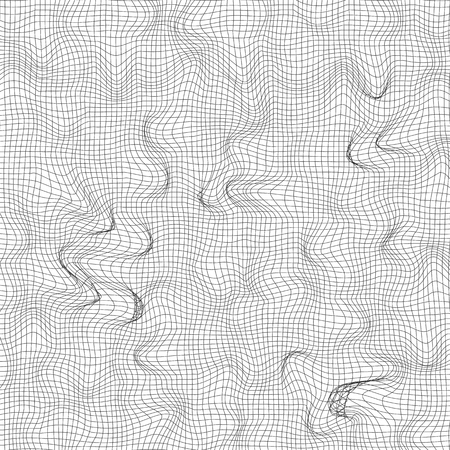 Background with curved grid. Vector illustration. Mesh pattern. Abstract monochrome background Ilustração
