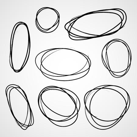 Set of hand drawn scribble circles. Vector illustration. Set of circle doodle frames