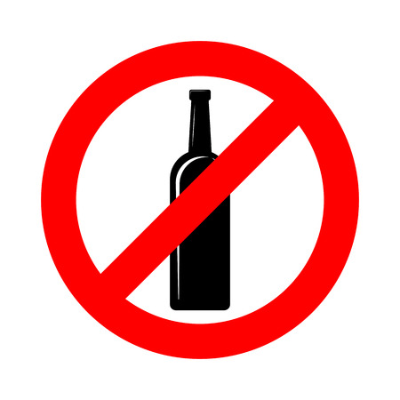 Aucun signe d'alcool. Illustration vectorielle. Panneau d'interdiction pour l'alcool. Aucun signe de boisson alcoolisée