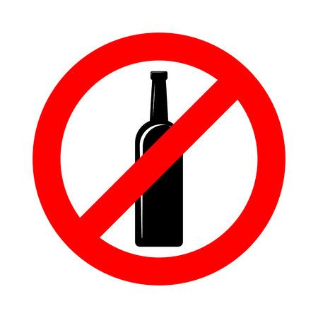 Nessun segno di alcol. Illustrazione vettoriale. Segnale di divieto per l'alcol. Nessun segno di bevanda alcolica
