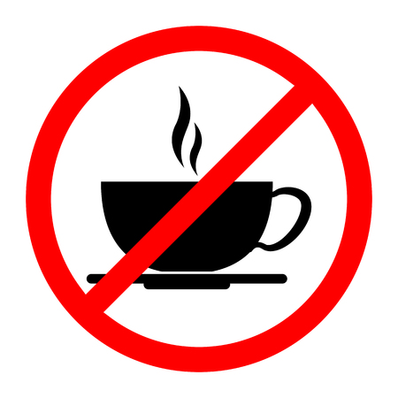 No coffee drink sign. Vector illustration. No coffee cup icon. Illusztráció