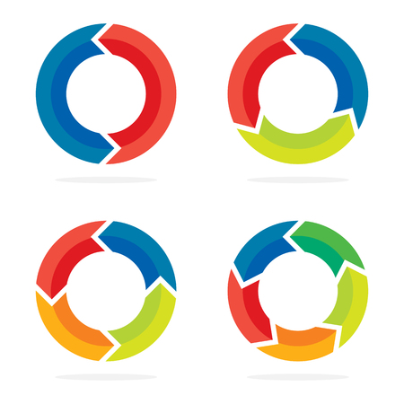 Set of flat circle arrows. Vector illustration. Refresh or reload arrows for infographic.