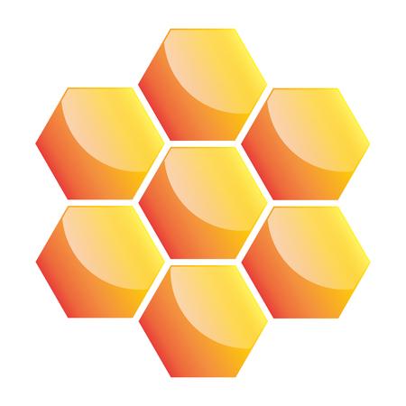 Honeycomb icon. Vector illustration. Yellow honeycomb icon isolated