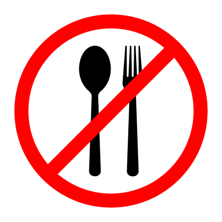 Red prohibition food sign. Vector illustration. No food sign. No eating allowed sign. Illustration