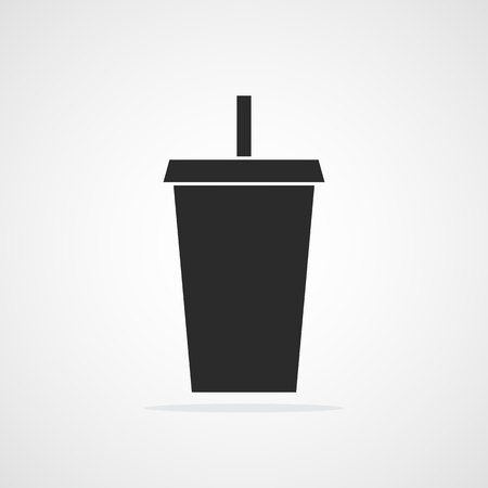 Plastic cup icon. Vector illustration. Black paper cup with water straw.