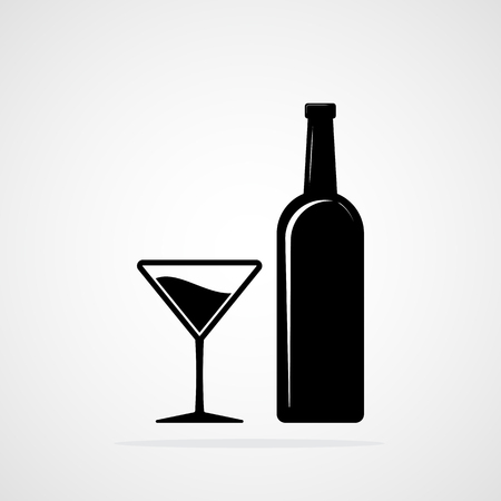 Silhouette of a Bottle and a Glass of wine. Vector illustration. Black bottle and glass of alcohol Illustration